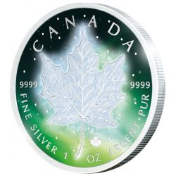 5$ Frozen Maple Leaf Aurora Rhodium