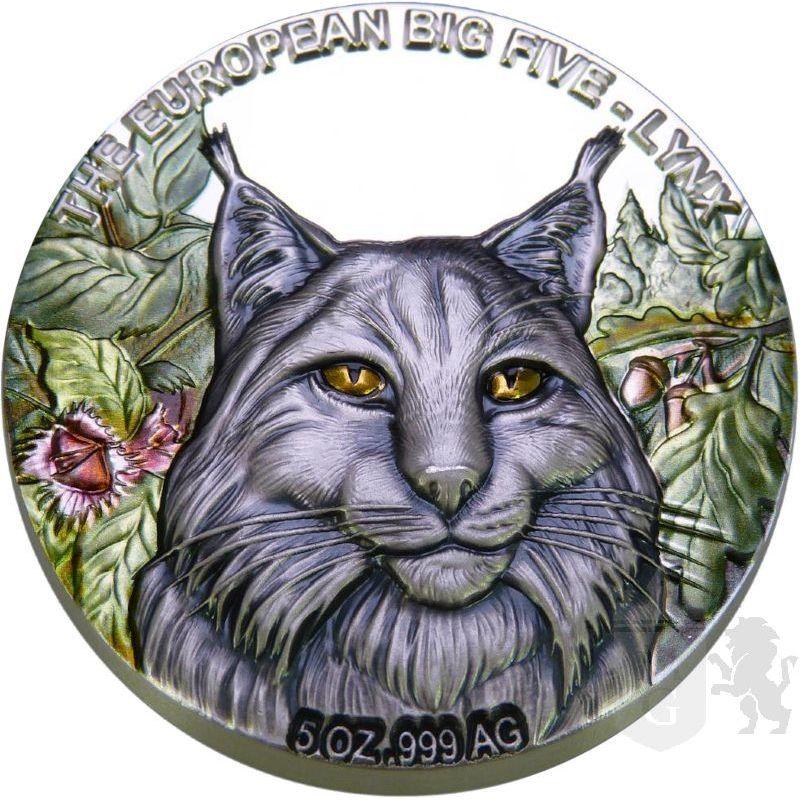 5 Cedis Lynx - The European Big Five 5 oz Ag 999 2021