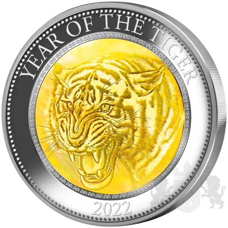25$ Year of the Tiger Mother of Pearl 5 oz Ag 999 2022 Cook Island