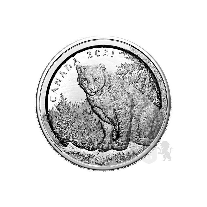50$ Multilayered Cougar 105,62 g Ag 999 2021 Canada