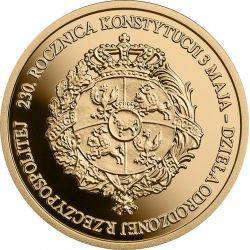 100 zł 230. rocznica Konstytucji 3 Maja, dzieła odrodzonej Rzeczypospolitej 8 g Au 900