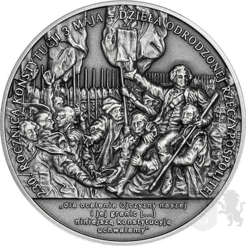 50 zł 230th Anniversary of the Constitution of 3 May 1791 2 oz Ag 999