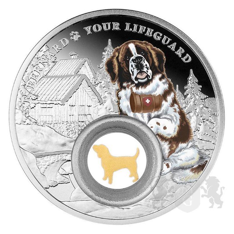1000 Franków Bernardyn, Psy – najlepsi przyjaciele człowieka 28,28 g Ag 999 2021