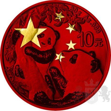 10 Yuan Panda, Chińska Flaga - Space Red 30 g Ag 999 2021 Chiny