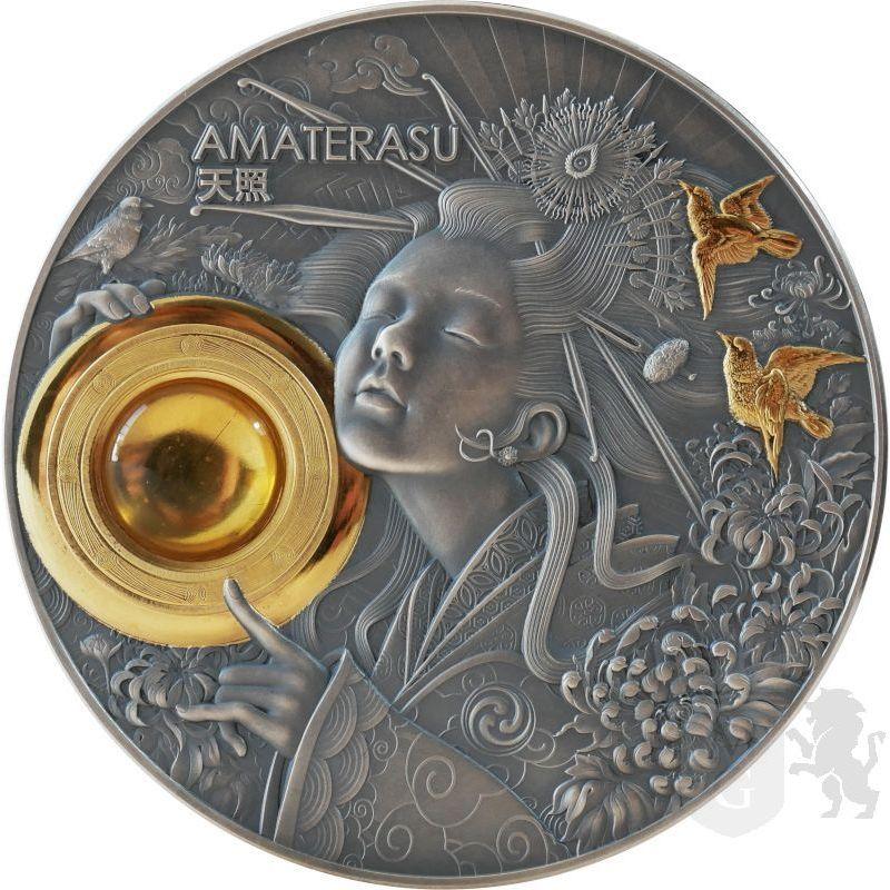 5$ Amaterasu - Boskie Twarze Słońca 3 oz Ag 999 Bursztyn Niue