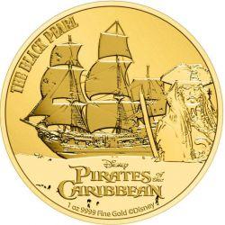 250$ Czarna Perła - Piraci z Karaibów, Disney 1 oz Au 999 2021 Niue Island