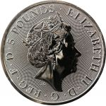 5£ Burning Lion of Mortimers - Queen's Beasts 2 oz Ag 999 Ruthenium 2021 Great Britain