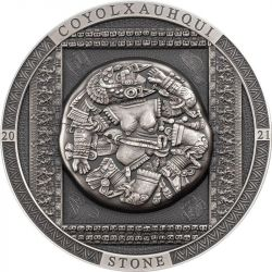 20$ Coyolxauhqui Stone - Archeology and Symbolism 3 oz Ag 999 2021 Cook Island