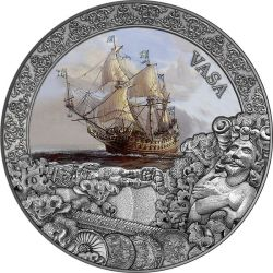 5$ Vasa - Grand Shipwrecks in a History 2 oz Ag 999 2021 Niue