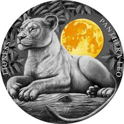 5$ Lioness - Wildlife in the Moonlight 2 oz Ag 999 2021 Niue