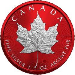 5$ Maple Leaf Space Red 1 oz Ag 999 2021 Canada