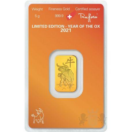 Gold Bar Argor-Heraeus, Year of the Ox 5 g Au 999 2021 Switzerland