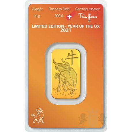 Gold Bar Argor-Heraeus, Year of the Ox 10 g Au 999 Switzerland