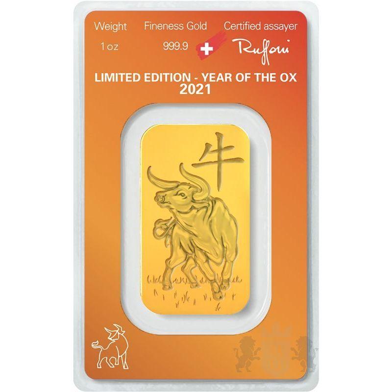 Gold Bar Argor-Heraeus, Year of the Ox 1 oz Au 999 Switzerland