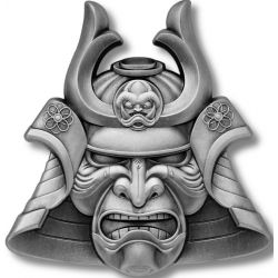 5$ Maska Samuraja - Antyczni Wojownicy 2 oz Ag 999 2021 Samoa