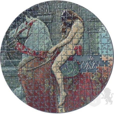 3000 Francs Lady Godiva, John Collier - So Puzzle Art 3 oz Ag 999 2020 Cameroon