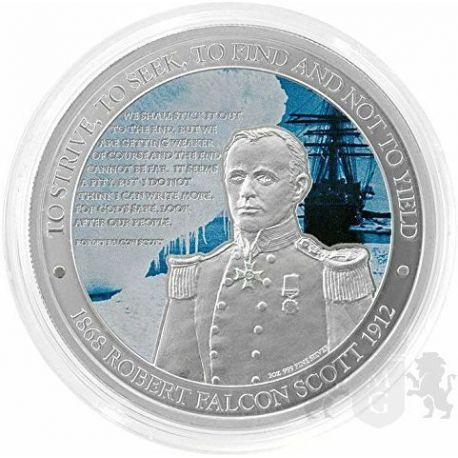 2$ Robert Falcon Scott, Royal Navy Antarctica 1 oz Ag 999 2012 Niue