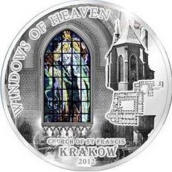 10$ Bazylika Św. Franciszka w Krakowie - Okna Niebios 50 g Ag 925 Szkło Wyspy Cooka