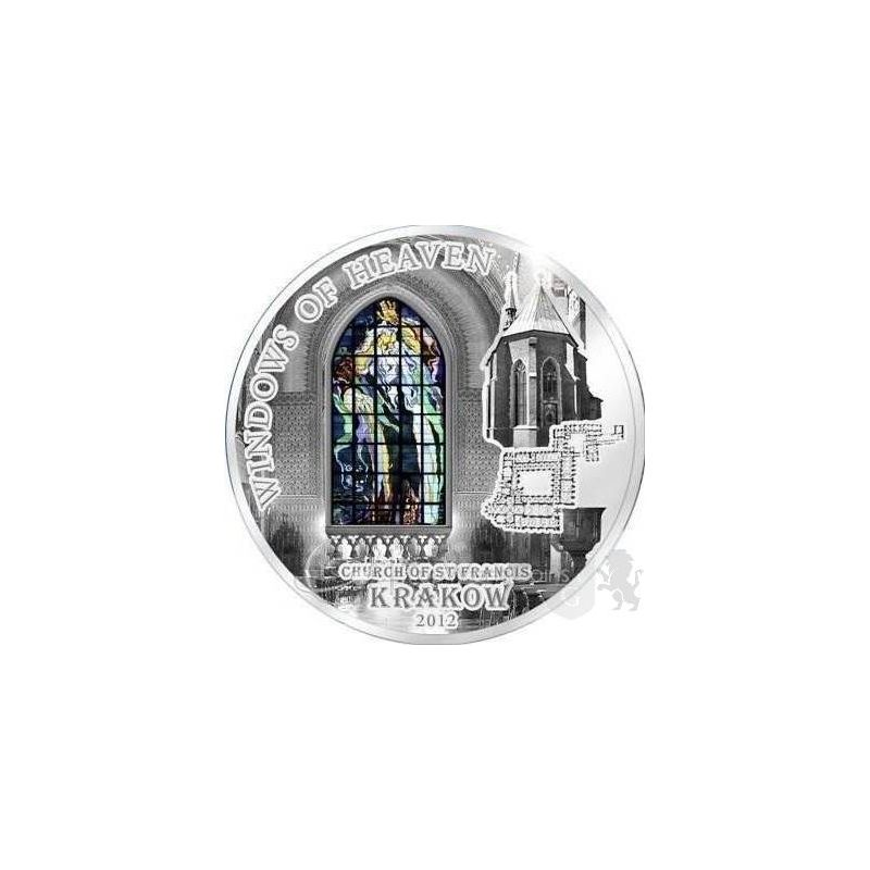10$ Cracow Saint Francis Basilica - Windows of Heaven 50 g Ag 925 Glass Cook Island