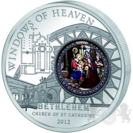 10$ Church of Saint Catherine in Bethlehem - Windows of Heaven 50 g Ag 925 Glass 2012 Cook Island