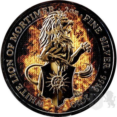5£ Płonący Lew Mortimerów - Bestie Królowej 2 oz Ag 999 Ruten 2021 Wielka Brytania