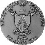 2000 Franków Cerber - Mityczne Stwory 2 oz Ag 999 2021 Kamerun