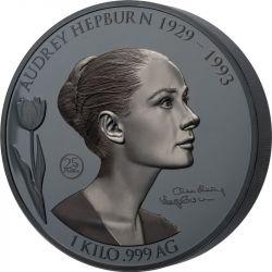 25$ Audrey Hepburn 1929-1993 1 kg Ag 999 2021 Samoa