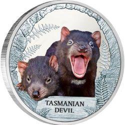 1$ Tasmanian Devil - Endangered and Extinct 1 oz Ag 999 2013 Tuvalu