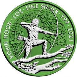 2£ Robin Hood Silvered - Space Green 1 oz Ag 999 2021