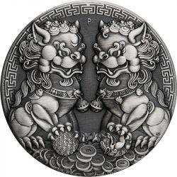 2$ Podwójny Pixiu, Guardian Lion - Chińskie Mity i Legendy 2 oz Ag 999 2021 Australia