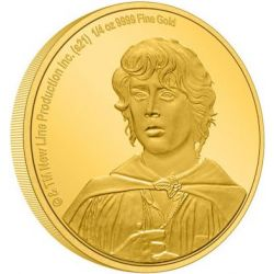 25$ Frodo Baggins - The Lord of the Rings 1/4 oz Au 999 2021 Niue