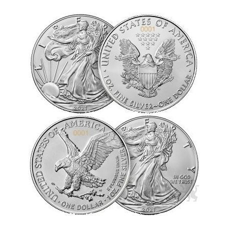 1$ American Eagle, The New Heritage 2 x 1 oz Ag 999 2021 USA