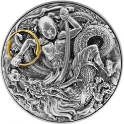 5$ Ne Zha Kills the Dragon King's Son 2 oz Ag 999 2021 Niue
