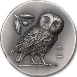 5$ Owl of Athena 1 oz Ag 999 2021 Cook Island