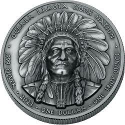 1$ Oglala Lakota Sioux, Siedzący Byk & Bawół 1 oz Ag 999 2021 USA