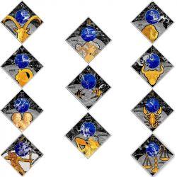 100 Denarów Znaki Zodiaku, zestaw Północna Macedonia 2018 12 x 23,3 g Ag 925