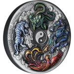 5$ Chinese Ancient Mythical Creatures 5 oz Ag 999 2021 Tuvalu