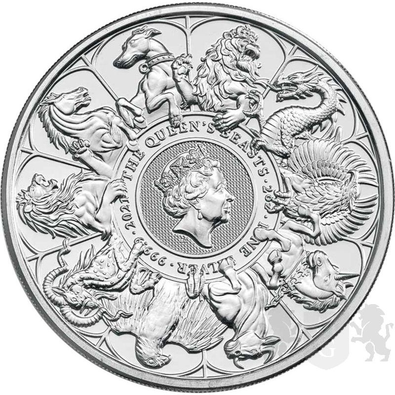 5£ The Queen's Beasts Completer Coin 2 oz Ag 999 2021 Great Britain