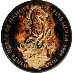 5£ Płonący Koń Hanoweru - Bestie Królowej 2 oz Ag 999 Ruten 2021 Wielka Brytania