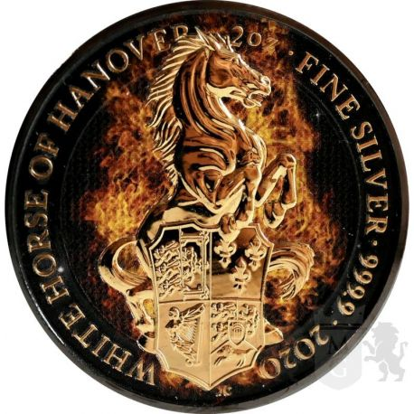 5£ White Horse Of Hanover - Queen's Beasts 2 oz Ag 999 Ruthenium 2021 Great Britain