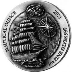50 Francs Sedov - Nautical Ounce, antique finish 1 oz Ag 999 2021 Rwanda
