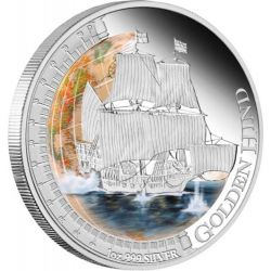 1$ Golden Hind - Statki, które zmieniły świat 1 oz Ag 999 Tuvalu 2011