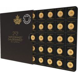 50¢ Canadian Maple Leaf, set 25 x 1 g Au 999 2021 Canada