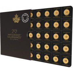 50¢ Kanadyjski Liść Klonowy, zestaw 25 x 1 g Au 999 2021 Kanada