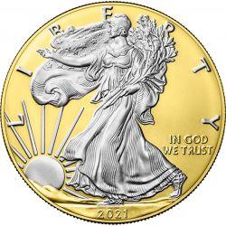1$ American Eagle, type 2, Gold 1 oz Ag 999 2021 USA
