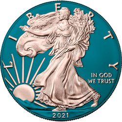 1$ Amerykański Orzeł, typ 2 - Space Blue 1 oz Ag 999 USA 2021