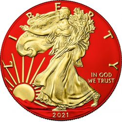 1$ American Eagle, type 2 - Space Red & Gold 1 oz Ag 999 USA 2021