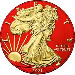 1$ Amerykański Orzeł, typ 2 - Space Red & Gold 1 oz Ag 999 USA 2021