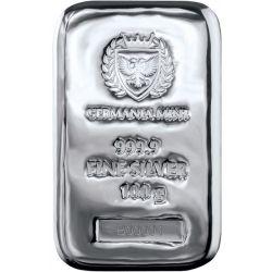 Silver bar, Germania Mint 100 g Ag 999