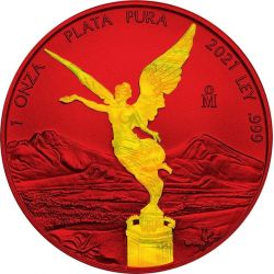 Libertad Holographic - Space Red 1 oz Ag 999 2021 Meksyk